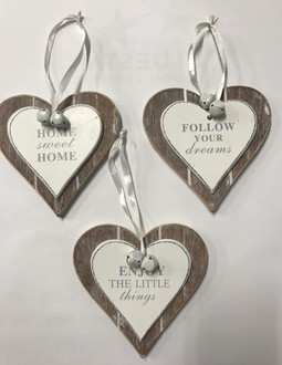 Hearts Inspirational 3 assorted 12cm
