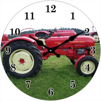 Clock Red Tractor 17cm