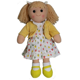 Hopscotch Doll Elsie -  Yellow cardigan and shoes with a white patterned dress.