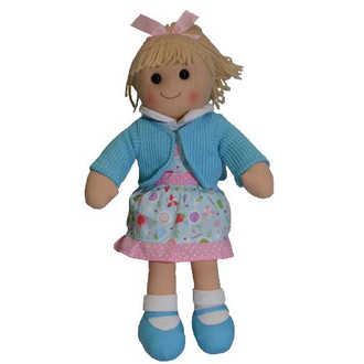 Hopscotch Doll Victoria- Blue cardigan and shoes with pink and light blue dress