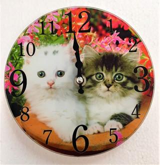 Kittens Clock 17cm