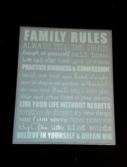 PL Family rules grey 28 x 23 cm