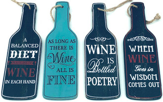 Wine sign 4 asst 17 cm