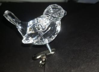 Acryllic clip on bird - clear