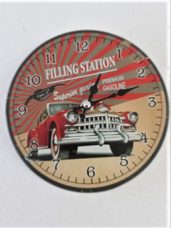 Clock Filling Station 17cm