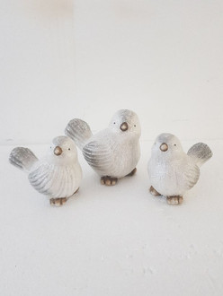 Birds grey 17cm 2ast