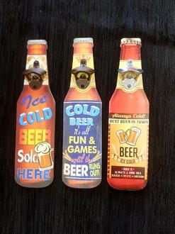 Bottle opener beer signs 3 asst