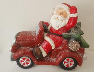 Santa in Car - Light up - 40cm