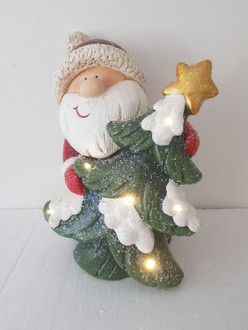 Santa with tree - Light up - 38cm