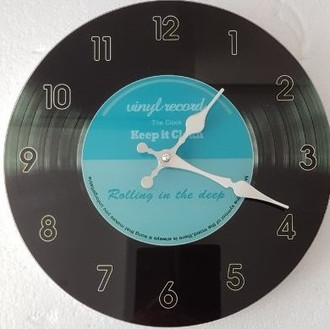 Blue record clock 30cm