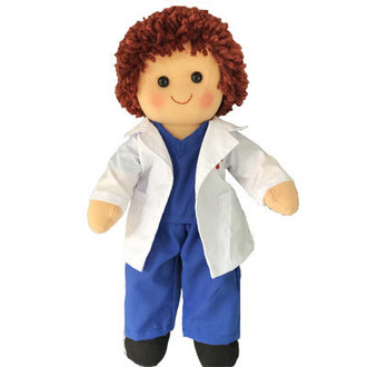 Boy doll in Medical Scrubs and Laboratory Coat - 35cm