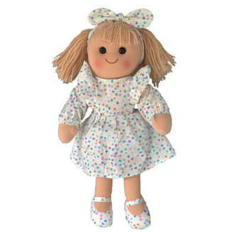 Elise - white dress with pastel spots 35cm Hopscotch Doll