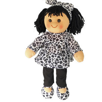 Bridget - leopard skin top with matching shoes and headband with black leggings - 35cm Hopscotch Doll