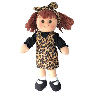 Frankie - black top and leopard skin dress with matching headband - 35cm Hopscotch Doll