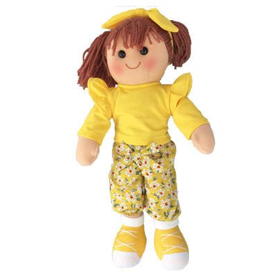 Hattie - yellow top with shoulder frill and patterned pants with matching yellow shoes - 35cm Hopscotch Doll