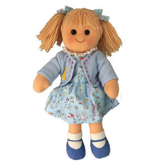 Mia - blue print dress with blue jacket and matching hair ties - 35cm Hopscotch Doll