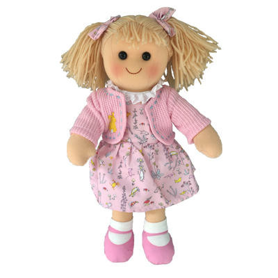 Willow -  pink print dress with pink jacket - Hopscotch Doll 35cm