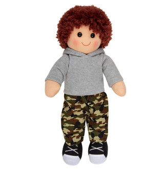 Tom - boy doll in camouflage pants and grey hoodie - 35cm