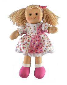 Hopscotch Doll Sienna - White and pink patterned dress.