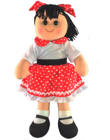 Hopscotch Doll Layla- White top and red spotted skirt with white trim.