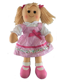 Hopscotch Doll Lulu - Light Pink dress with pink bow.