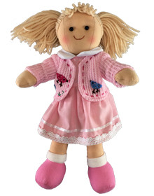Hopscotch Doll Paige - Pink dress with a white collar and pink cardigan.