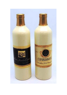 Ceramic Wine Bottle Vase 2 ast styles - 20cm