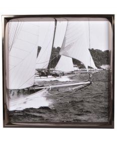 Vintage Yachts Photo in Silver Frame - 50 x 50cm