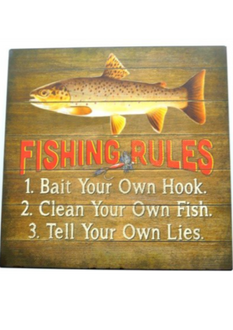 Fishing Rules Plaque 30 x 30cm
