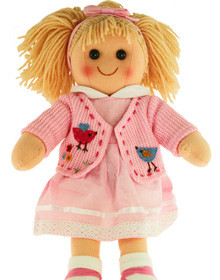 Hopscotch Doll Daisy - Pink jacket and dress with white lace trim.
