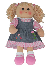 Hopscotch Doll Maddie - Denim and pink dress.