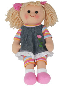 Hopscotch Doll Lexi - Denim and striped dress.