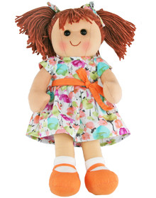 Hopscotch Doll Olivia - White patterned dress with orange bow and shoes.