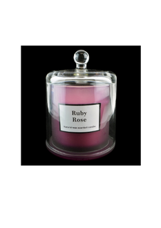 This stunning Candle is in a glass container with a Glass Bell cover