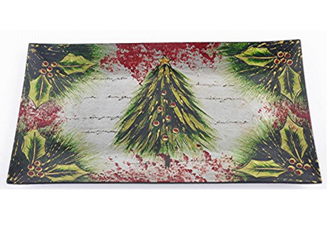 Glass Xmas Tree Plate 43 x 23cm