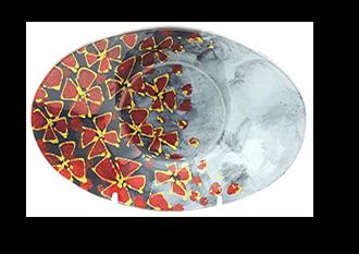 Field of Flowers Glass Oval Plate 24x16cm