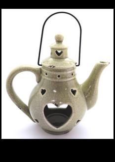 Teapot Lantern - Green 22x22cm