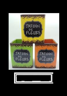 Jardin de Fleurs Square Pots - 3 ast colours 14 x 16cm
