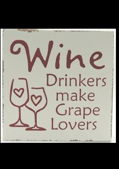 Grape Lovers Word Block 18x18cm