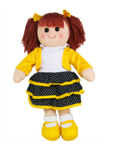 Hopscotch Doll Maggie - Yellow Jacket with black spotted skirt.