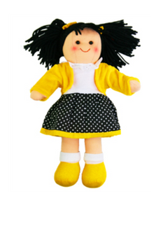 Hopscotch Doll Lola - Yellow jacket with black spotted skirt.