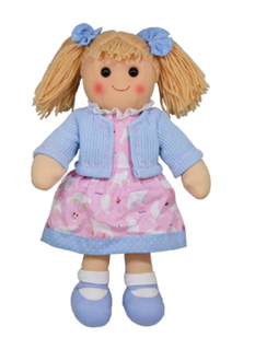 Hopscotch Doll Isla - Light Blue cardigan with light pink dress.