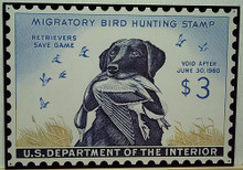 "Photo of  FEDERAL DUCK HUNTING STAMP 1960 IS THE ONLY STAMP WITH A DOG, ""RETRIEVERS SAVE GAME"""