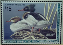 Photo of FEDERAL DUCK HUNTING STAMP 1995 WITH DRAWING OF RED BREASTED MERGANSER DUCKS