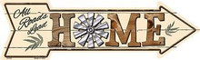"""Flat Aluminum Arrow Shaped Sign measuring 17"""" x 5"""" with holes for easy mounting."""