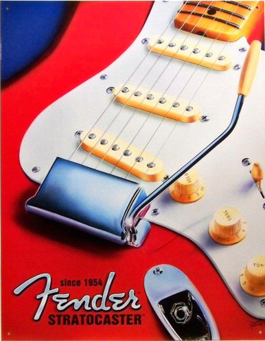 Photo of FENDER STRATOCASTER, SINCE 1954 SIGN HAS BRIGHT COLORS AND GREAT DETAIL