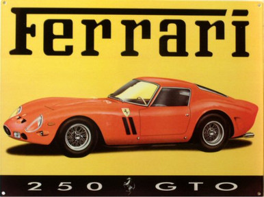 CLASSIC FERRARI 250 GTO ENAMEL SIGN HAS BRILLIANT COLOR AND SHARP DETAILS