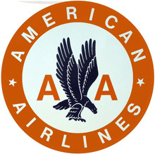"AMERICAN AIRLINES LARGE 14"" ROUND (sublimation process) METAL SIGN HAS HOLE(S) FOR EASY MOUNTING"