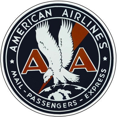 """AMERICAN AIRLINES LARGE 14"""" ROUND (sublimation process) METAL SIGN HAS HOLE(S) FOR EASY MOUNTING"""