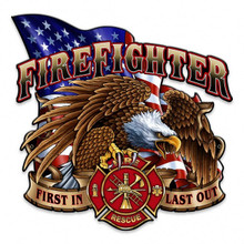 """FIREFIGHTER EAGLE & FLAG SHAPED (Sublimation Process) Heavy Metal Plasma Cut Sign S/O & SPECIAL ORDER SIGN TAKES 2-3 WEEKS TO SHIP. THIS SIGN MEASURES 14"""" X 14"""" AND HAS HOLES FOR EASY MOUNTING The price for shipping on this product is calculated for the 48 contiguous United States, Alaska, Hawaii and all other countries will require additional shipping cost. We do not have the option to add any charges to your credit card, so once we have an accurate shipping cost we will contact you and explain how to cover the additional shipping cost, If at that point you feel it is too much, we can send a refund to your credit card for the full amount of your purchase. Thanks, Clark, Signs"""